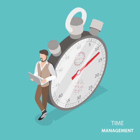 Time management flat isometric vector concept Çizim