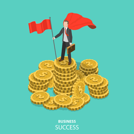 Business success flat isometric vector concept. Illusztráció