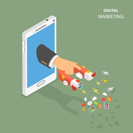 Digital marketing flat isometric vector concept