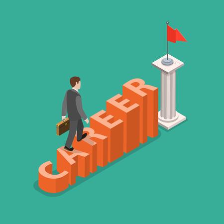 Career development flat isometric vector concept  イラスト・ベクター素材