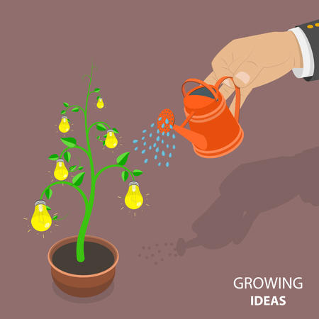 Growing ideas flat isometric vector concept. Stock Illustratie