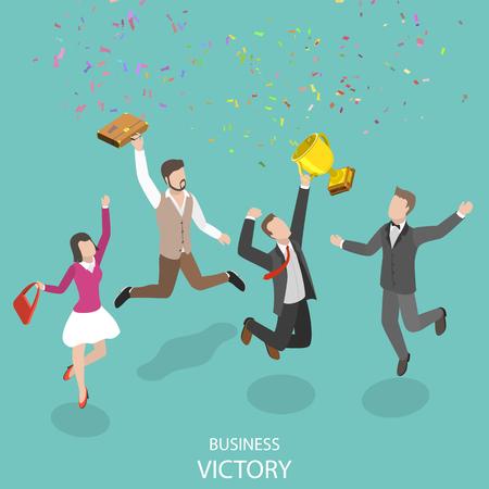 Koncepcja biznesowa płaski izometryczny wektor zwycięstwa.