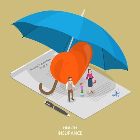 건강 보험 평면 아이소 메트릭 벡터 개념