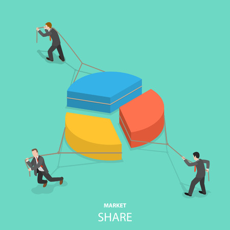 Market share flat isometric vector concept Stock Photo
