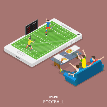 Online football flat isometric vector concept Imagens