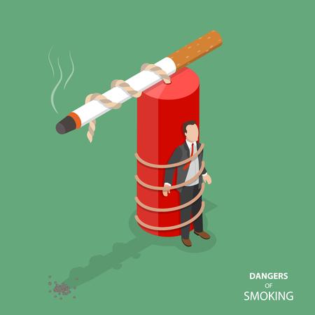 Danger of smoking flat isometric vector concept
