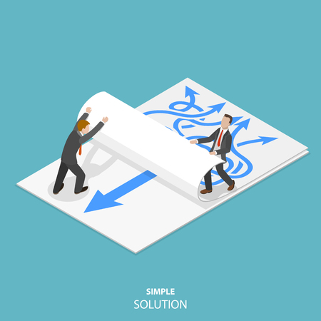 Simple solution flat isometric vector concept.
