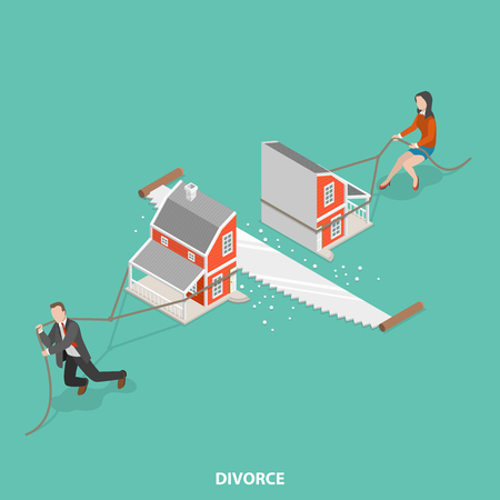 Divorce flat isometric vector concept. Man and a woman are dragging their half of the sawn house.