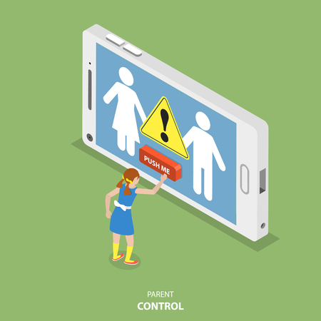 Parent control flat isometric vector. Teen girl is pushing a red button on the screen of the smartphone but in this moment are appearing abstract silhouettes of the parents with the 'WARNING' sign.