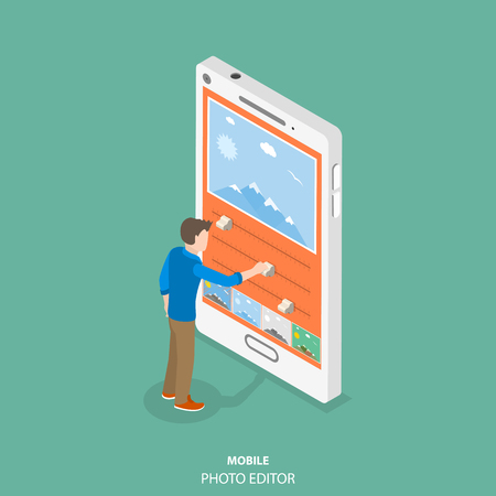 Mobile image editor flat isometric vector concept. Man is editing a picture on the smartphone by applying some filters and changing some other settings. Banco de Imagens - 91318023