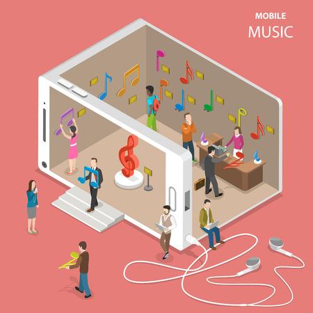 Mobiele cloud muziekdienst isometrische vector. Mensen gaan voorbij en binnen in een muziekwinkel met een gevel die eruitziet als een smartphone. Er zijn veel muzieknoten in de winkel die muziektracks symboliseren