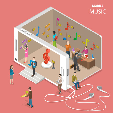 Mobile cloud music service isometric vector. People are going by and inside a musical store with facade looking like a smartphone. There are many musical notes in the store which symbolize music tracks