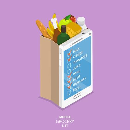 Lista de la compra móvil concepto de vector isométrica plana. Bolsa de supermercado de papel con la parte frontal parecida a un teléfono inteligente con una lista de los alimentos a comprar.