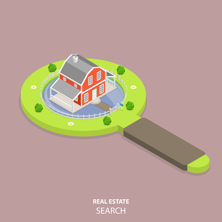 Real estate search flat isometric vector concept. House is located on the magnifying glass that looks like a lawn with bushes and flowers. Illustration
