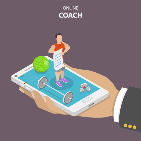Online coach flat isometric vector concept. Hand is holding a smartphone with a fitness instructor on it that is surrounded by sport requisites. Instructor is holding in his hand a training program.