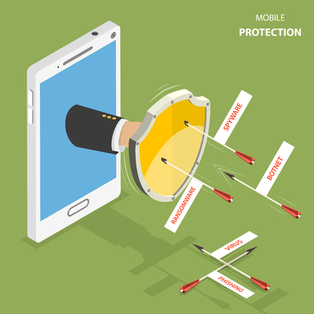 Mobile protection flat isometric vector concept. Man hand with a shield appeared from smartphone to defend it from flying arrows with the captions as phishing, virus, botnet, spyware, ransom ware.