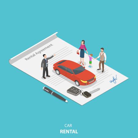 車両レンタルフラットアイソメベクトルコンセプト。レンタル代理店は、レンタカー契約に立っている若い家族にレンタカーの状態を説明していま