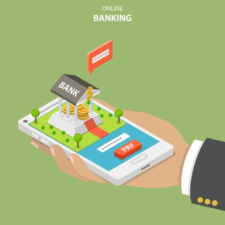 オンラインバンキングフラットアイソメトリックベクトル概念。手は銀行の建物が付いているスマートフォンを持っています。ユーザーは、セキュ