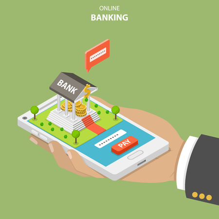 Online banking flat isometric vector concept. Hand is holding a smartphone with a bank building on it. The user is performing a secure payment by entering a security code. Illustration