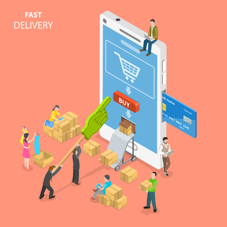 Fast delivery flat isometric vector concept.