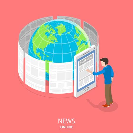 Online news flat isometric vector concept Illustration