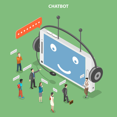 Chatbot flat isometric vector concept.