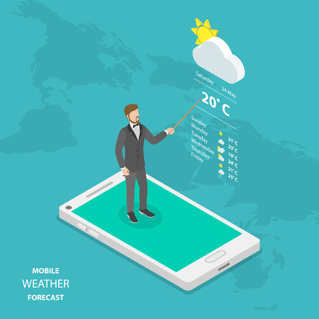 Weather forecast online flat isometric vector.