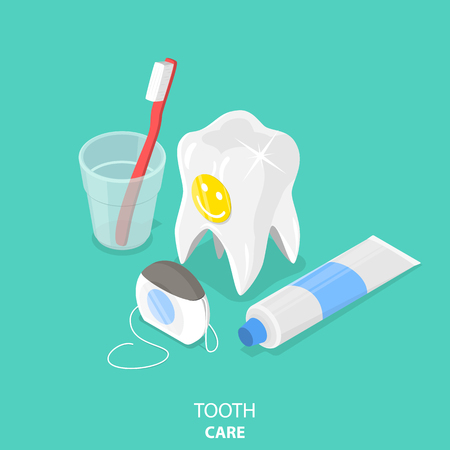 Tooth care flat isometric vector. Banco de Imagens - 92722370