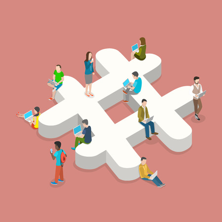 Hashtag flat isometric vector concept. People with laptops and smartphones are sitting on and around the three-dimensional hashtag sign.