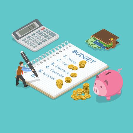 가족 예산 평면 아이소 메트릭 벡터 개념입니다. 남자는 가족 예산을 계획하고 메모장에 기록합니다. 각 예산 항목 근처에는 약간의 금액이 있습니다.
