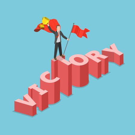 Victory flat isometric vector concept. Businessman dressed with superhero cloak with flag and winner cup. In his hands is standing on the three dimensional word VICTORY that pictured like a mountain.