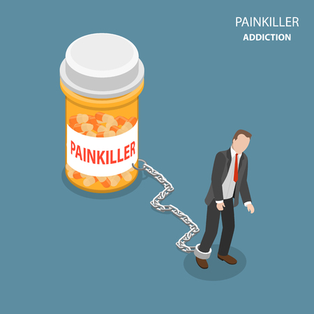Painkiller addiction flat isometric vector concept. Tired and weak man is trying to go ahead but cannot, as he chained to the bottle of pills with painkiller name on it. Banque d'images - 92720860