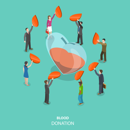 Blood donation flat isometric vector concept. People donate flat red drops by putting them into the big glass heart, that is half filled by the blood.