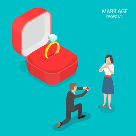 Vettore isometrico piano proposta di matrimonio. L'uomo con un anello in mano è in piedi sul ginocchio di fronte a una ragazza. Sullo sfondo della scena c'è un'enorme scatola rossa e un anello con diamante al suo interno. Archivio Fotografico - 92935685