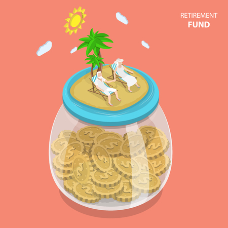 Retirement fund flat isometric vector concept. Aged couple is laying on the beach chairs on the sea shore that located on the top of the huge glass jar with coins. Çizim