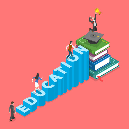 Education flat isometric vector concept. People are climbing into graduation cap that is on the pile of books. They do it using stairs that made of letters of the word education Illustration