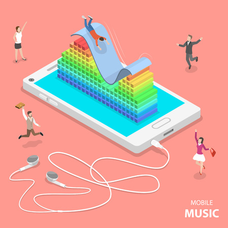 Mobile music flat isometric vector concept. Slider and a 3D audio equalizer are on top the smartphone. People are dancing around it and one of them is sliding down the slider. Illustration