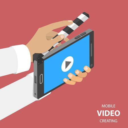 플랫 아이소 메트릭 벡터 개념을 만드는 모바일 비디오. clapperboard처럼 보이는 스마트 폰은 일부 장면을 촬영하는 데 사용됩니다. 스톡 콘텐츠 - 92935797