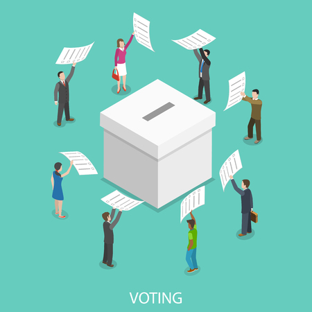 Voting flat isometric vector concept. Imagens - 93388808