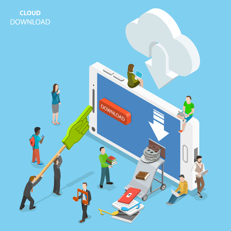 Cloud download flat isometric vector.