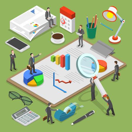 Financiële audit platte isometrische vector concept. Mensen omringd door sommige kantoorspullen onderzoeken en bespreken enkele financiële documenten.