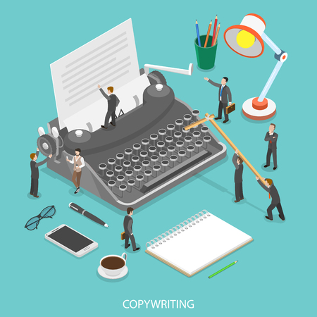 Copywriting flat isometric vector concept. People are trying to create some text on the paper sheet using a typewriter.