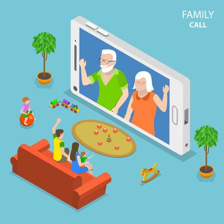 Family call flat isometric vector concept.