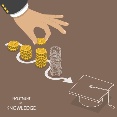 Investment in knowledge flat isometric vector. Hand is putting a coin to the one of pile that is representing savings. The last pile and a graduation hat have just outlines that means they are not real yet.