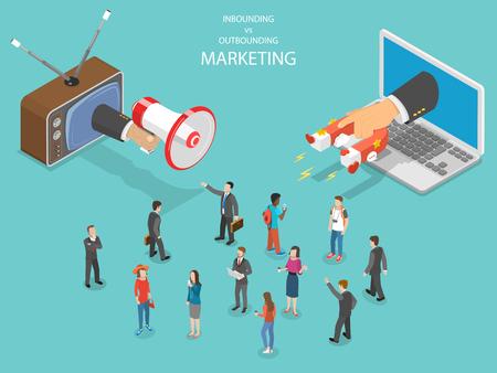 Izometryczny wektor marketingu przychodzącego i wychodzącego. Ilustracje wektorowe