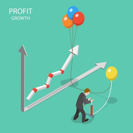 利益成長率フラットアイソメトリックベクトル概念。  イラスト・ベクター素材