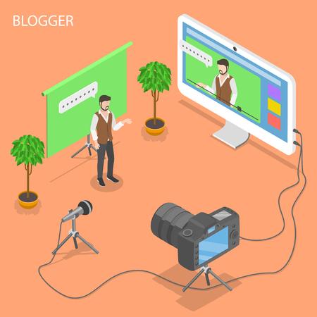 Blogger flat isometric vector concept.
