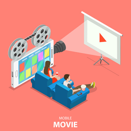 Mobile movie flat isometric vector concept.