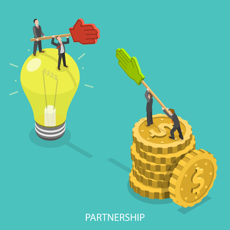 Business partnership flat isometric vector concept. Illustration