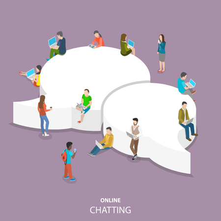 Online chatting flat isometric vector concept. Vettoriali